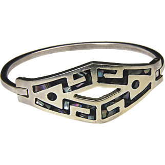 Vintage Taxco Inlaid Abalone & Sterling Silver Hinged Bracelet Mexico Geometric