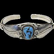 Vintage Sterling Silver & Turquoise Cuff Bracelet Leaf Design Southwestern Small