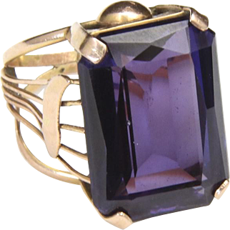 Vintage Huge Rectangular Amethyst & 12k Yellow Gold Unique Band Ring Sz 6.5