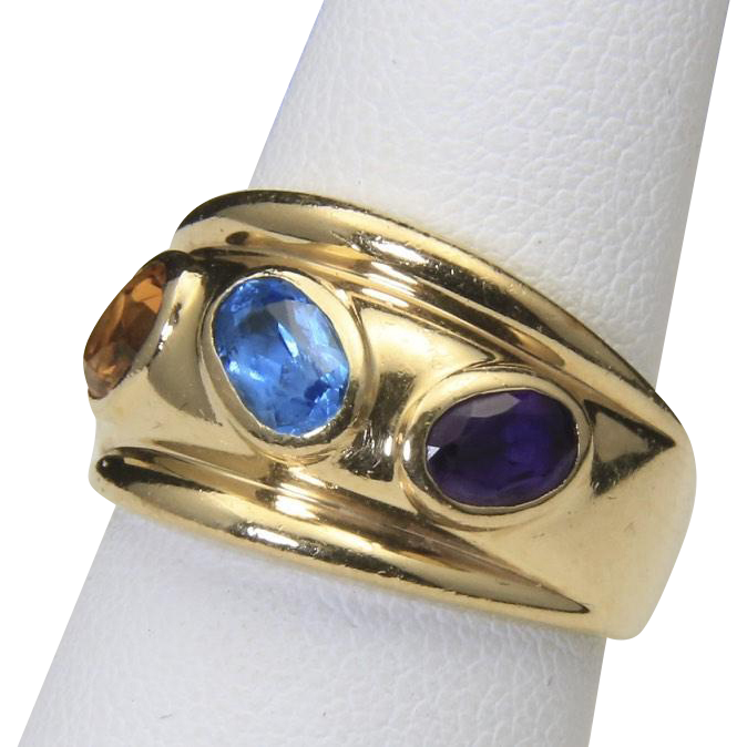 Vintage 14k Yellow Gold Tall Band Ring with Inset Citrine Amethyst & Blue Topaz