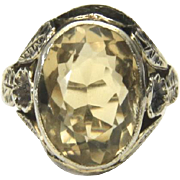 Vintage Sterling Silver & Oval Yellow Citrine Ring With Flower Detail Size 4.5