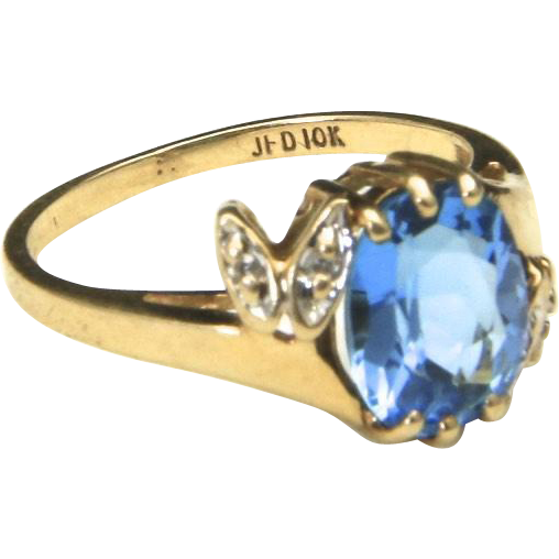 Vintage Beautiful 10k Yellow Gold Diamond & Oval Cut Blue Topaz Ring Sz 5