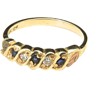 Vintage 12k Yellow Gold 10k Black Hills Diamond & Sapphire Band Ring Sz 6.75