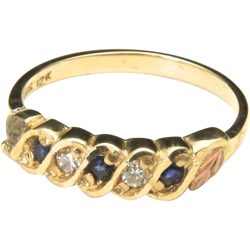 Vintage 12k Yellow Gold 10k Black Hills Diamond & Sapphire Band Ring Sz 6.75