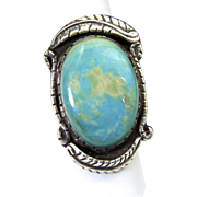 Vintage Huge Turquoise Stone & Sterling Silver Ring Signed Southwestern Sz 8