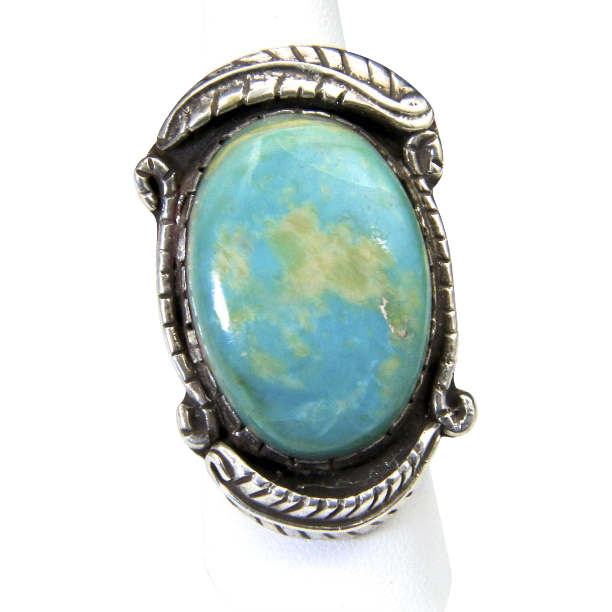 Vintage Huge Turquoise Stone & Sterling Silver Ring Signed Southwestern Sz 8