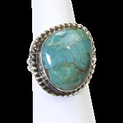 Vintage Sterling Silver & Turquoise Ring Sz 7.5 Signed Southwestern Artisan