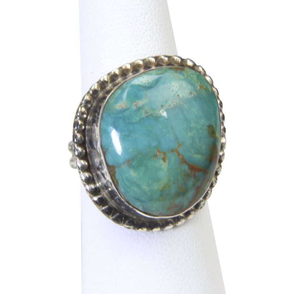 Vintage Sterling Silver & Turquoise Ring Sz 7.5 Signed Southwestern Artisan