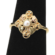 Vintage 10k Black Hills Gold & Pearl Ring Leaves Dainty Classic Mothers Size 6