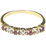 Vintage Dainty 14k Yellow Gold Ruby & Diamond Band Ring Size 5