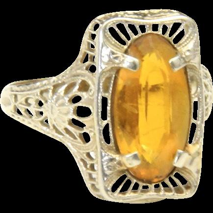 Vintage Art Deco Citrine & Filigree 10k White Gold Ring Sz 5.25 Yellow Gemstone