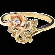 Vintage Lovely 10k Black Hills Gold & Diamond Rose Ring Size 6.75 Can Re-Size