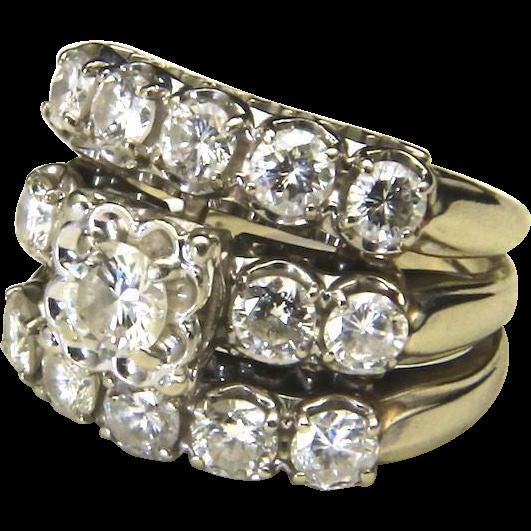 Vintage Triple Band 2.5ct Round Diamond Wedding Engagement Ring Set 14k Sz 5.75