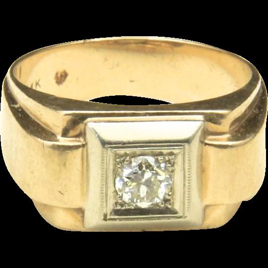 Vintage 14k Yellow & White Gold Diamond Men's Ring Band Geometric Square Sz 9