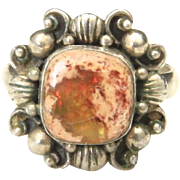 Vintage Sterling Silver Fire Agate Ring Sz 6.25 Dainty Size Orange Brown Stone