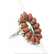 VIntage 70s Zuni Sterling Silver Petit Point Coral Ring Sz 8.75 Artisan Signed