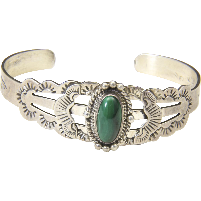 Vintage Fred Harvey Era Sterling Silver & Malachite Cuff Bracelet Southwestern