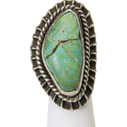 Vintage Southwestern Large Heavy Sterling Silver & Green Turquoise Ring Sz 6.75