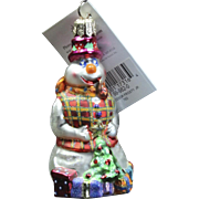 "Radko ""Professor Frosty Jr."" Snowman Glass Christmas Ornament Tag Box"