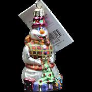"""Radko """"Professor Frosty Jr."""" Snowman Glass Christmas Ornament Tag Box"""