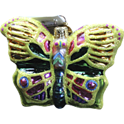 "Radko ""All A Flutter"" Butterfly Glass Ornament Tag & Box Hand Painted"