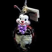 "Radko  ""Lady B. Goode"" Ladybug Glass Ornament w/ Spring Antenna Tag and Box"