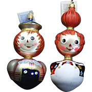 Radko Rare Vintage 1996 Ragamuffins Raggedy Ann Andy Glass Ornament Set Tag Box