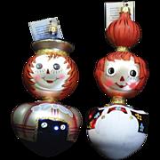 Radko Rare Vintage 1996 Ragamuffins Raggedy Ann Andy Glass Ornament Set Tag Box