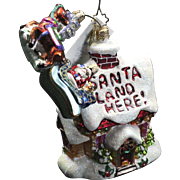 "Radko ""Special Invitation"" Santa Land Here Reindeer Glass Ornament Tag Box"