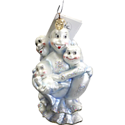 "Radko ""Boo Babes"" Halloween Ghosts Glass Ornament Tag and Box Hand Painted"
