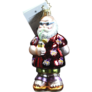 "Retired Radko ""Beach Comber, Jr."" Santa Glass Christmas Ornament Tag Box"