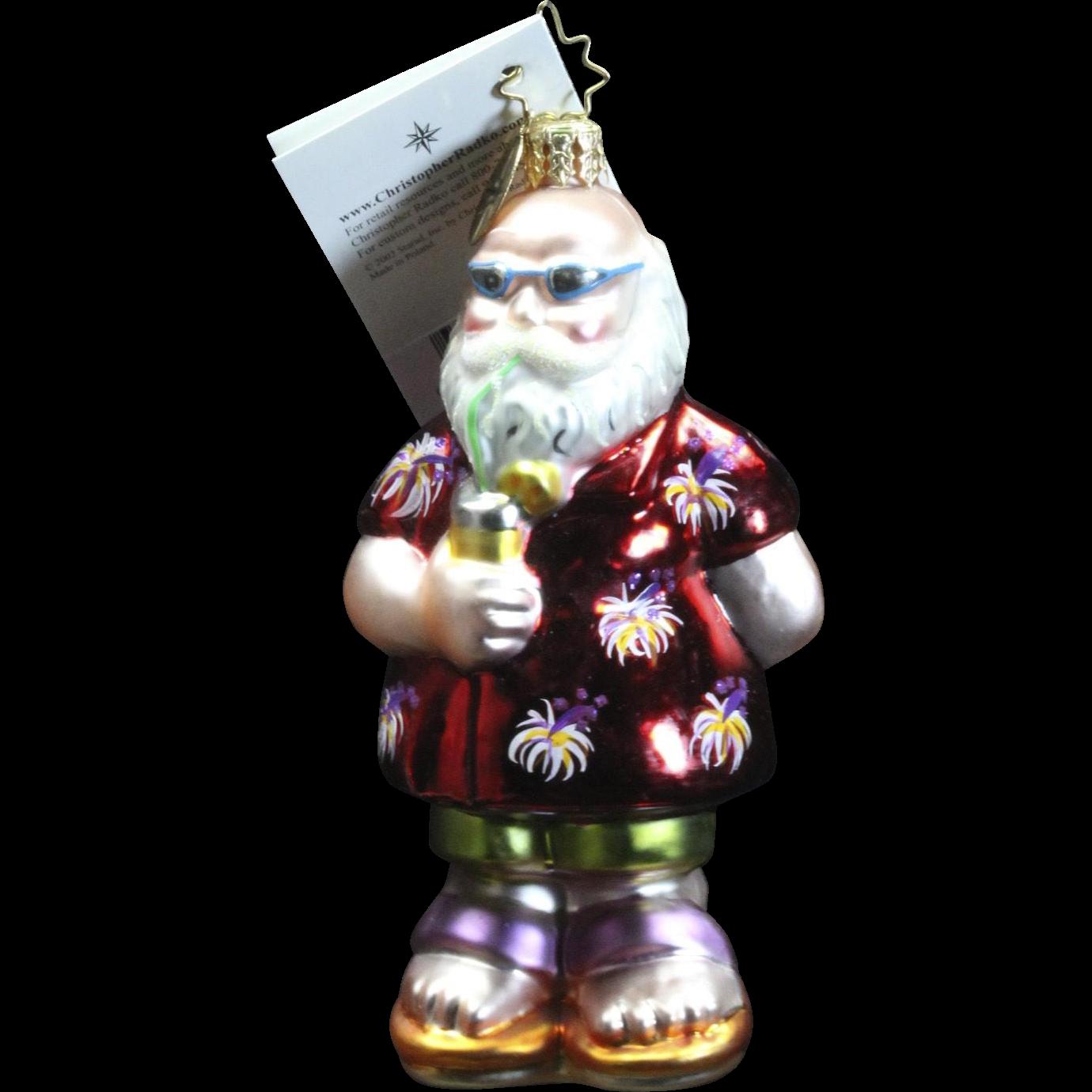 "Retired Radko ""Beach Comber, Jr."" Santa Glass Christmas Ornament Tag Box"