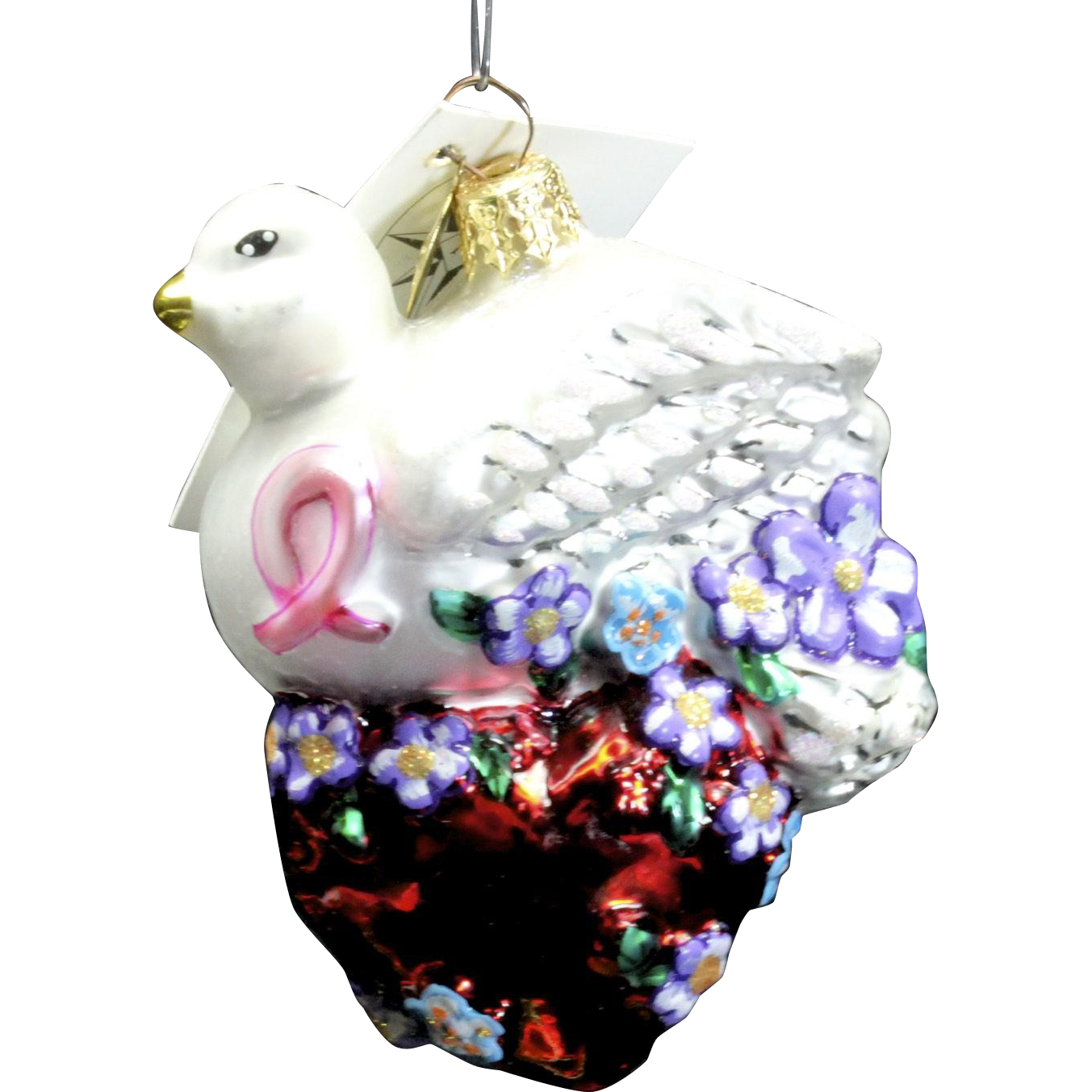 """Radko """"Wings of Love"""" Dove & Heart Ornament Tag Box Hand Painted Bird Gift"""