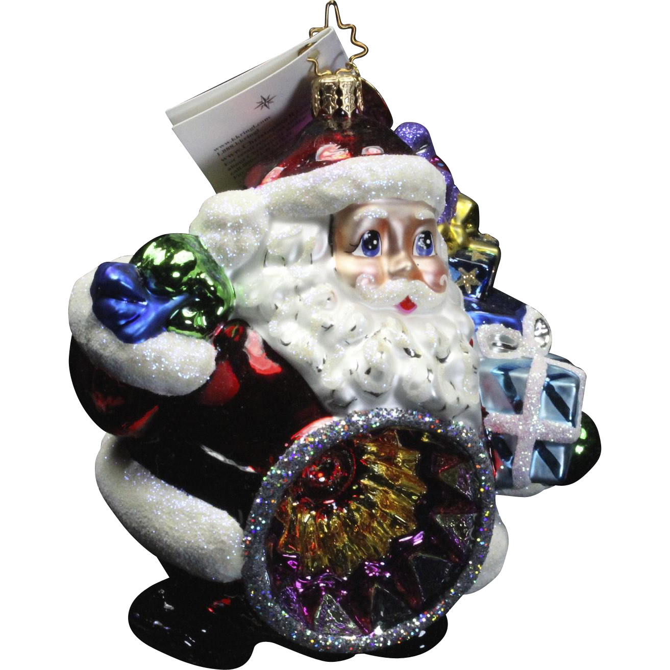"Radko ""Kris Kringl Reflection"" Santa Glass Christmas Ornament Tag & Box"