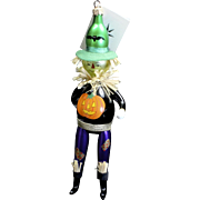 "Radko ""Field Friend"" Halloween Scarecrow Glass Ornament Tag Box Handpainted"