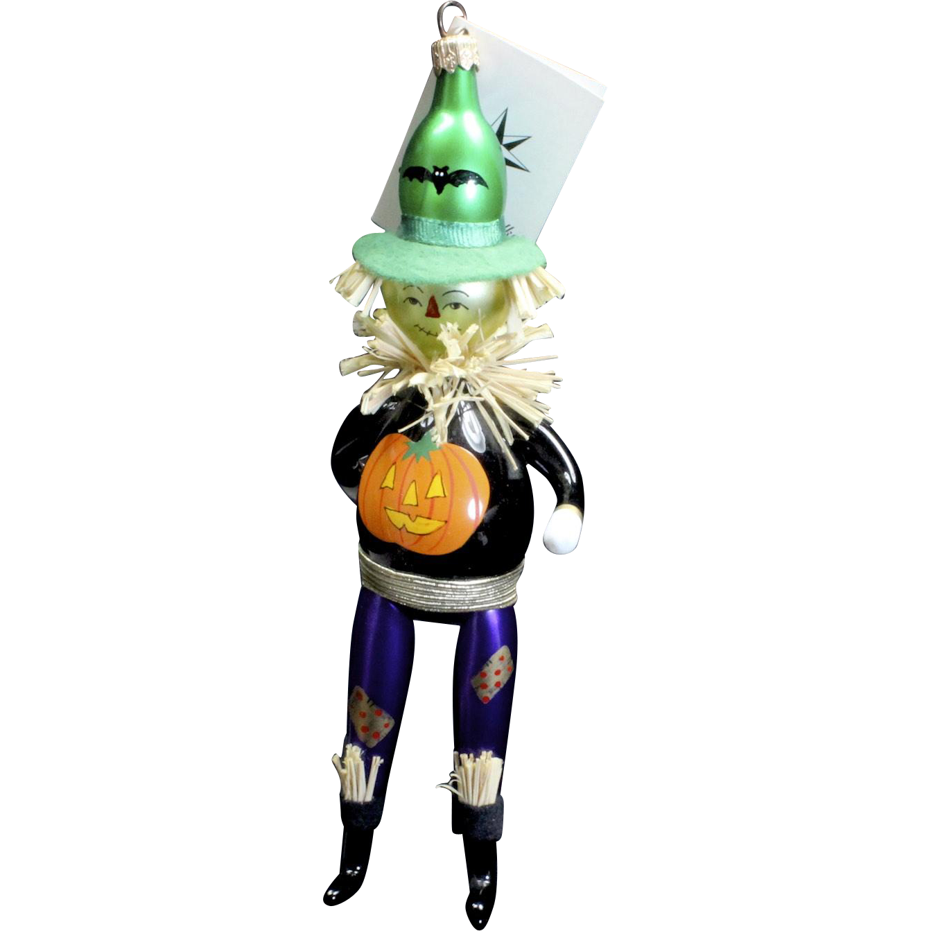 "Radko ""Field Friend"" Halloween Scarecrow Glass Ornament Tag Box Handpainted"