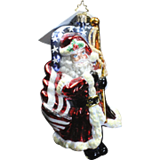 """Radko Exclusive """"Patriotic Santa"""" Christmas Glass Ornament Tag & Box Flag"""