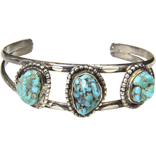 Vintage Sterling Silver Turquoise Nugget Three Stone Cuff Bracelet Southwestern