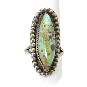 Vintage Sterling Silver Natural Green Turquoise Oblong Ring Southwestern Sz 10.5