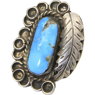 Vintage Sterling Silver & Turquoise Ring Large Face Sz 6.5 Feather Southwestern