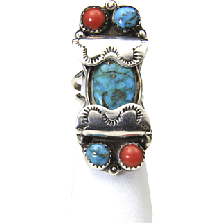 Vintage Large Sterling Silver 5 Stone Ring Turquoise Coral Southwestern Artisan