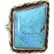 Vintage Sterling SIlver & Blue Turquoise Ring Unique Shape Southwestern Sz 6.75