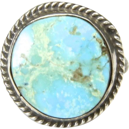 Vintage Sterling Silver & Blue Turquoise Ring Round Circle Stone Sz 6.5