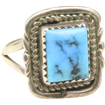 Vintage Little Square Sterling Silver & Natural Blue Turquoise Ring Sz 6.5