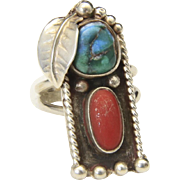 Vintage Sterling Silver Turquoise & Coral Long Ring Sz 9 Southwestern Shadowbox
