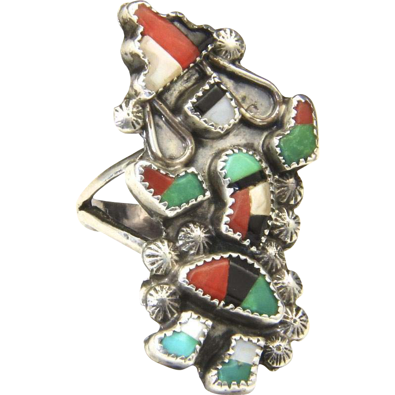 Vintage Zuni Sterling Silver & Muti Stone Inlay Dancer Kachina Ring Sz 5.75