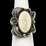Vintage Rare Hopi Schrimshaw Kachina Sterling Silver Ring Signed Sz 8.25 Etched