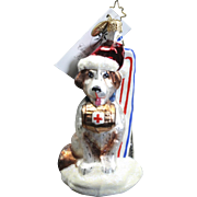 "Radko  ""Brave Bernard"" Dog Skis Hand-Painted Glass Christmas Ornament Tag"