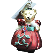 "Radko ""Petite Grand Vanderball Muffy Vanderbear"" Bear Glass Ornament Tag"