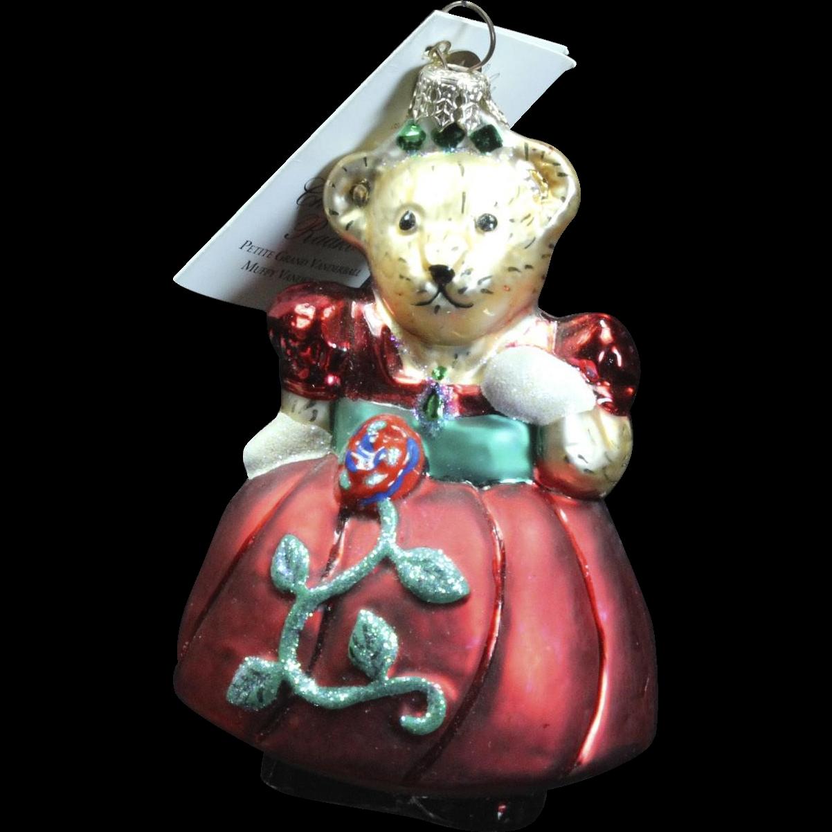 "Radko ""Petite Grand Vanderball Muffy Vanderbear"" Bear Glass Ornament Tag"